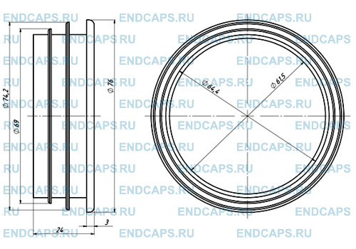 Заглушка для трубы 76 мм чертеж