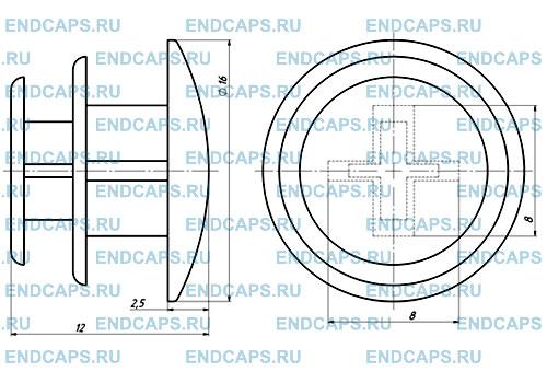 Заглушка круглая 16 мм чертеж