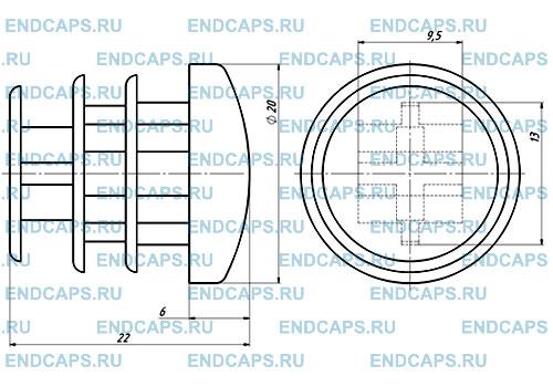 Заглушка круглая 20 мм чертеж