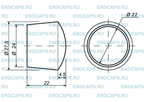 Заглушка наружная для трубы 22 мм