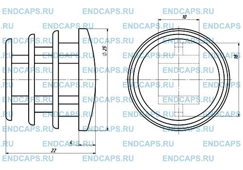 Заглушка круглая 25 мм чертеж