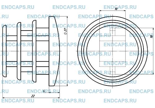Заглушка круглая 27 мм чертеж