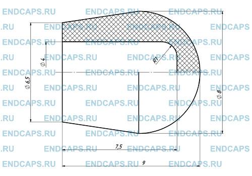 Чертеж наружной заглушки диаметр 4 мм